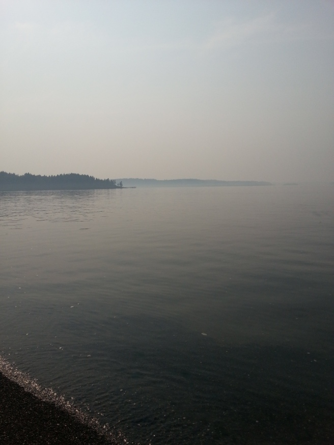 Smoke Haze over the sound. This was an 85+ day...should have been sunny, clear sky.