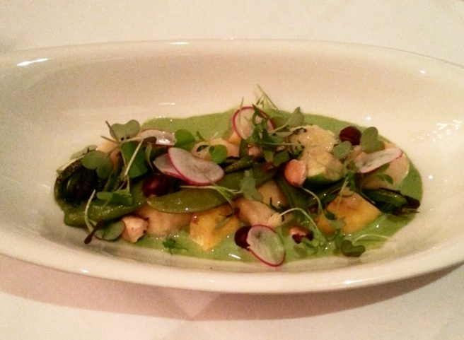 Main: Ricotta Gnudi - stinging nettle cream, toasted hazelnuts, fiddleheads, summer squash, garlic scape