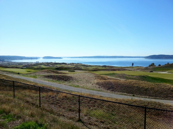 Chambers Bay, sunny, clear, and just warm enough.